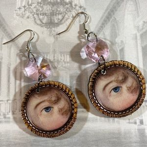 Vintage Victorian gem eye crystal earrings OOAK